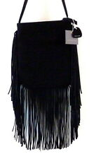 NWT MONSERAT DE LUCCA Suede Fringe Crossbody Hobo Black Bag