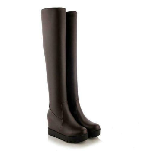 Women/'s Wedge Heel Over Knee Thigh High Stretchy Boots Platform Shoes Plus sz
