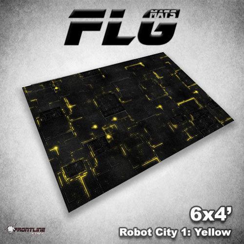 Flg Esteras  ciudad robot amarillo 6x4' Estera de juegos de mesa de alta calidad de neopreno