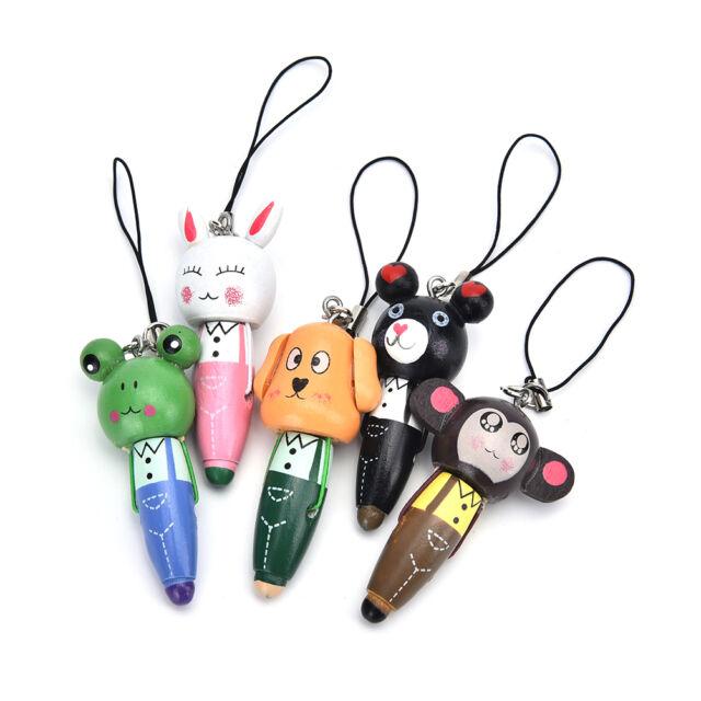 1Pc Wooden Animal Ballpoint Pen Bag Pendant Kid Stationery Gift Random EDZY