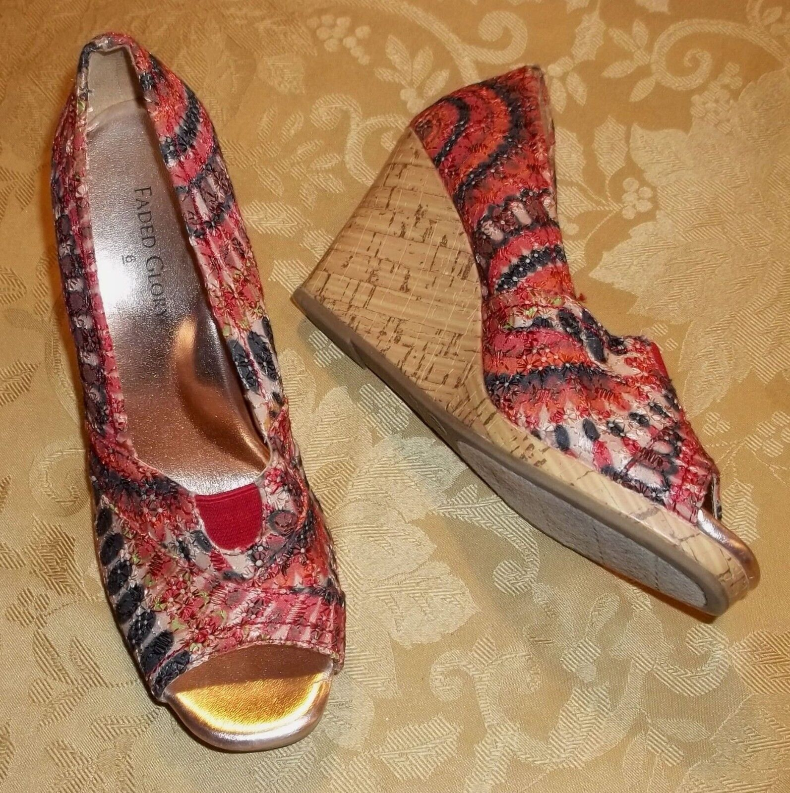 Womens FADED GLORY~ESPADRILLE WEDGE SANDALS~6 Shoes~Orange High Heel Summer Shoes~Orange SANDALS~6 717bce