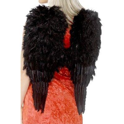 Buono Nero Scuro Angel Wings Grande 50cm X 60cm Piuma Adulti Accessorio Costume
