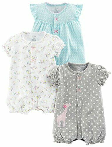 Navy Dot//Pink Str... Simple Joys by Carter/'s Baby Girls/' 3-Pack Snap-up Rompers