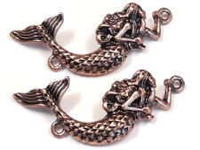 2 - 2 HOLE BEADS, LINKS, CONNECTOR BEADS ANTIQUED COPPER PLATED MERMAID BEADS