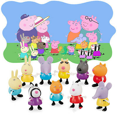 10Pcs set Peppa Pig Friends Toys Danny Emily Rebecca Suzy Action Figures Gifts