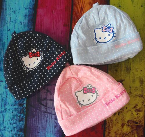 Mütze leichte Babymütze Baby Heube Mützchen 42-44 Hello Kitty Rosa Navi Blau NEU