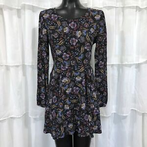 Small-FOREVER-21-Long-Sleeve-Floral-Print-Dress