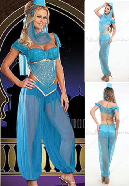 Jasmine Aladdin Princess Costume Womens Blue Belly Dancer Fancy Dress S-2XL