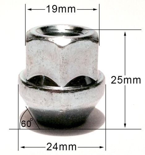 Roue En Alliage Ouvert Fin écrou Noix cosses Boulons M12 x 1.5 19 mm Hex CONIQUE SIÈGE X 4