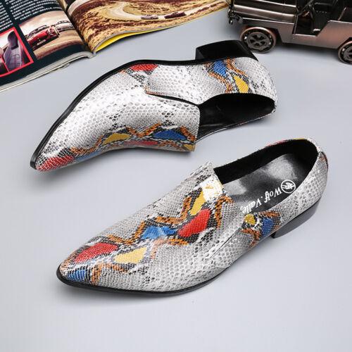 Hombres estampado serpiente Zapatos N33 Barco multicolor Punta con piel puntiaguda Resbalón de en Mocasines vdqRd