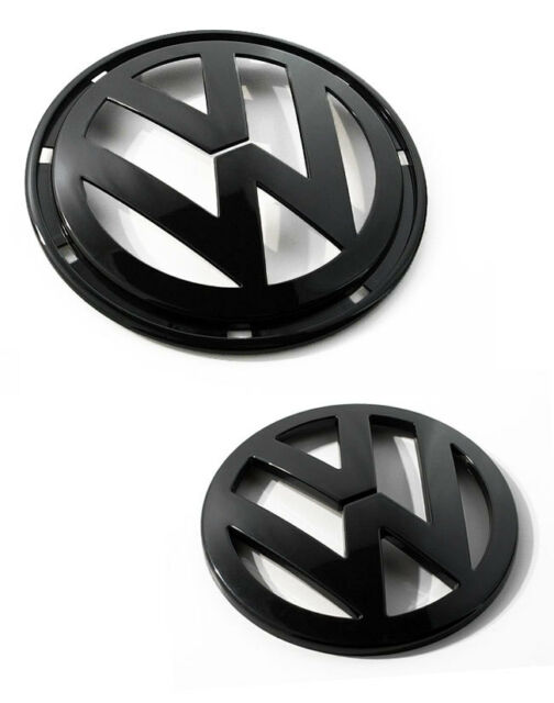VW Jetta MK5 5 Matte Black Euro Badge Emblem Logo Front Grill + Rear Trunk Hatch