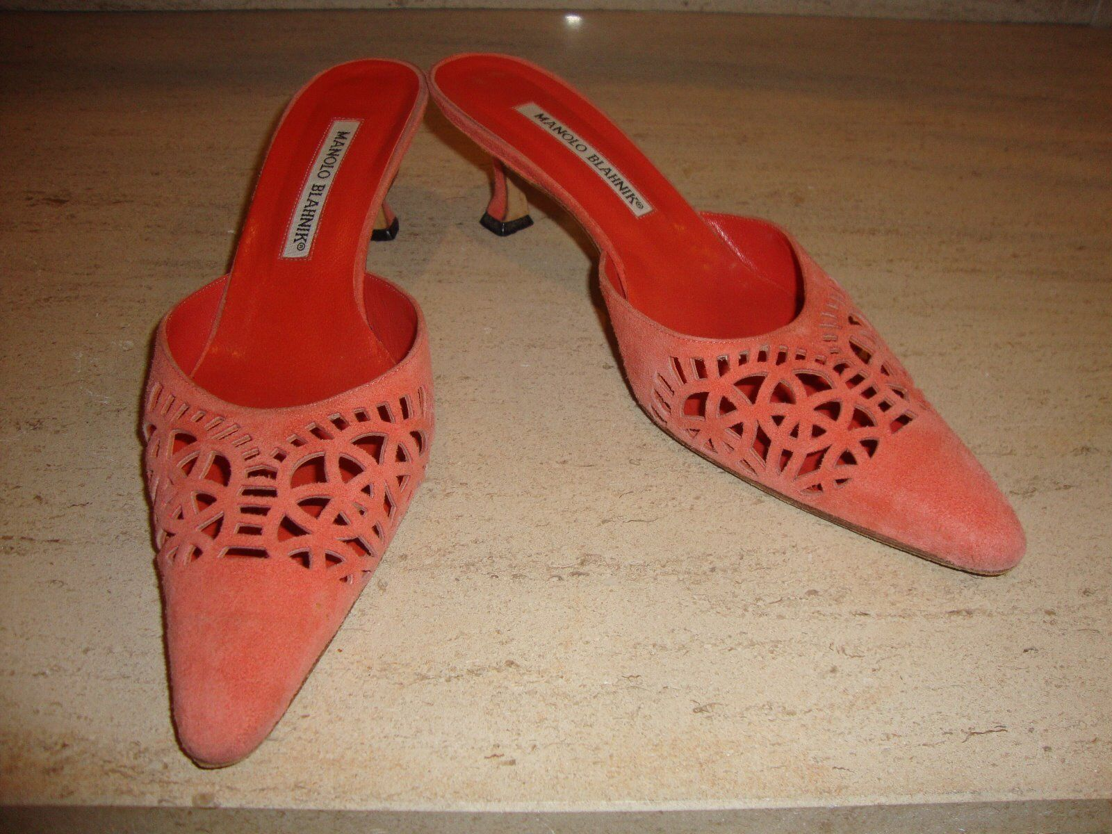 GORGEOUS LASER CUT OUT SUEDE MANOLO BLAHNIK MULES