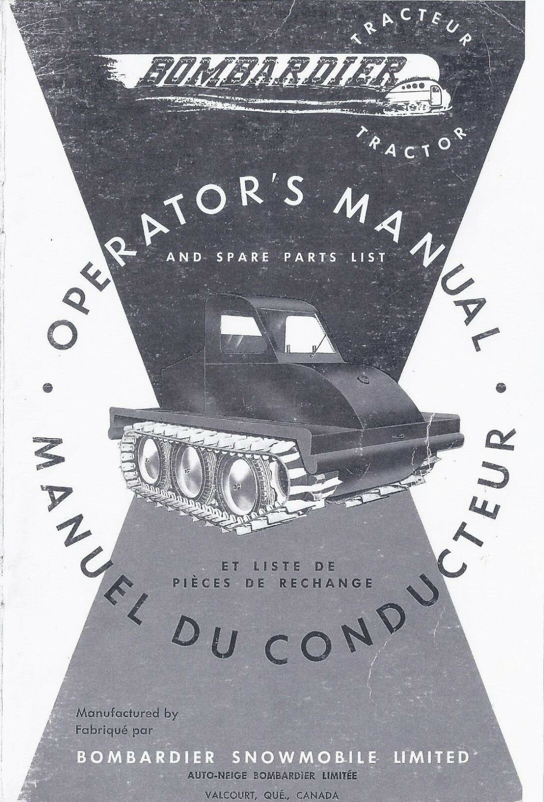 Operator's Manual and Spare Parts List Bombardier J-5 Tractor Sidewalk Plow