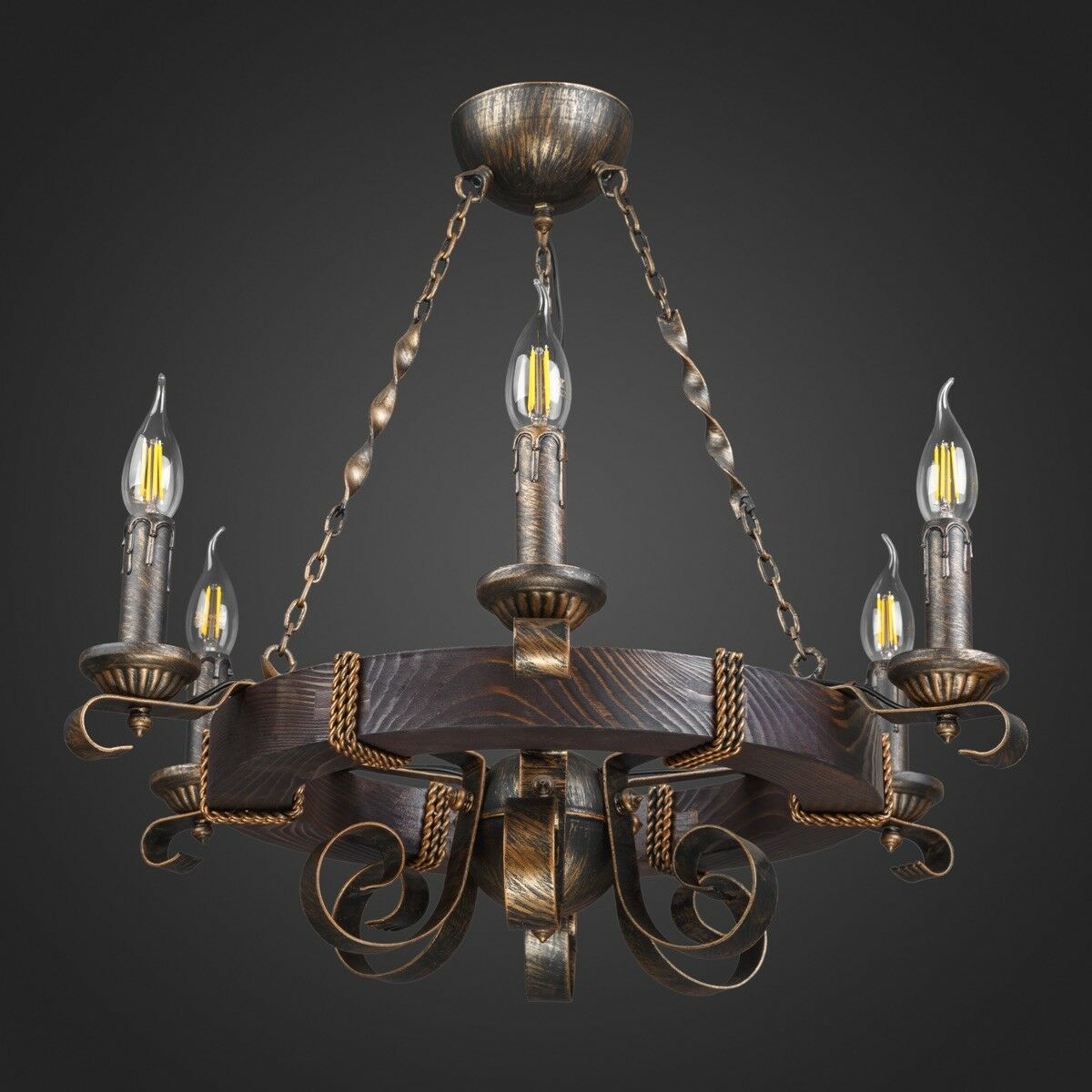 Decorative retro chandelier hand-made wood and metal
