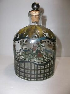 Vintage Hand Painted Glass PERFUME BOTTLE Silver FLOWERS Metal And Cork Stopper