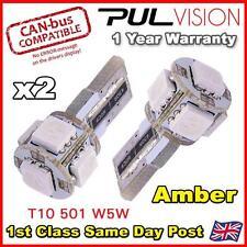 2 x ERROR FREE CANBUS 5 SMD CAR LED W5W T10 501 INDICATOR LIGHT BULBS - AMBER