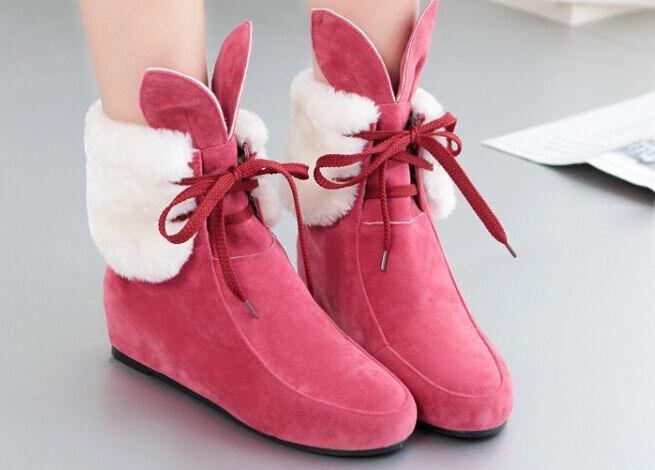 Booties boots Damens's wedge schuhe cm 4.5 pink WEISS comfortable like Leder