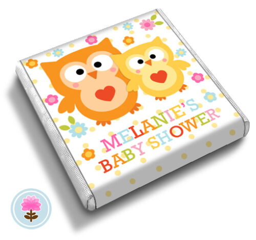 Personalised HAPPI OWL Baby Shower Christening Birthday Party FAVOUR CHOCOLATES