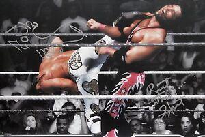 WWE-HBK-Shawn-Michaels-amp-Bret-Hart-Signed-WM12-Kick-Photo-autograph-JSA-COA