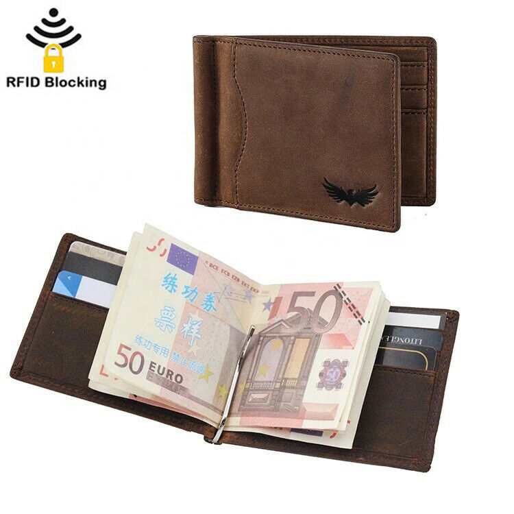 Mens Real Leather Wallet Money Clip Bifold RFID Front Pocket Card Holder GiftBox