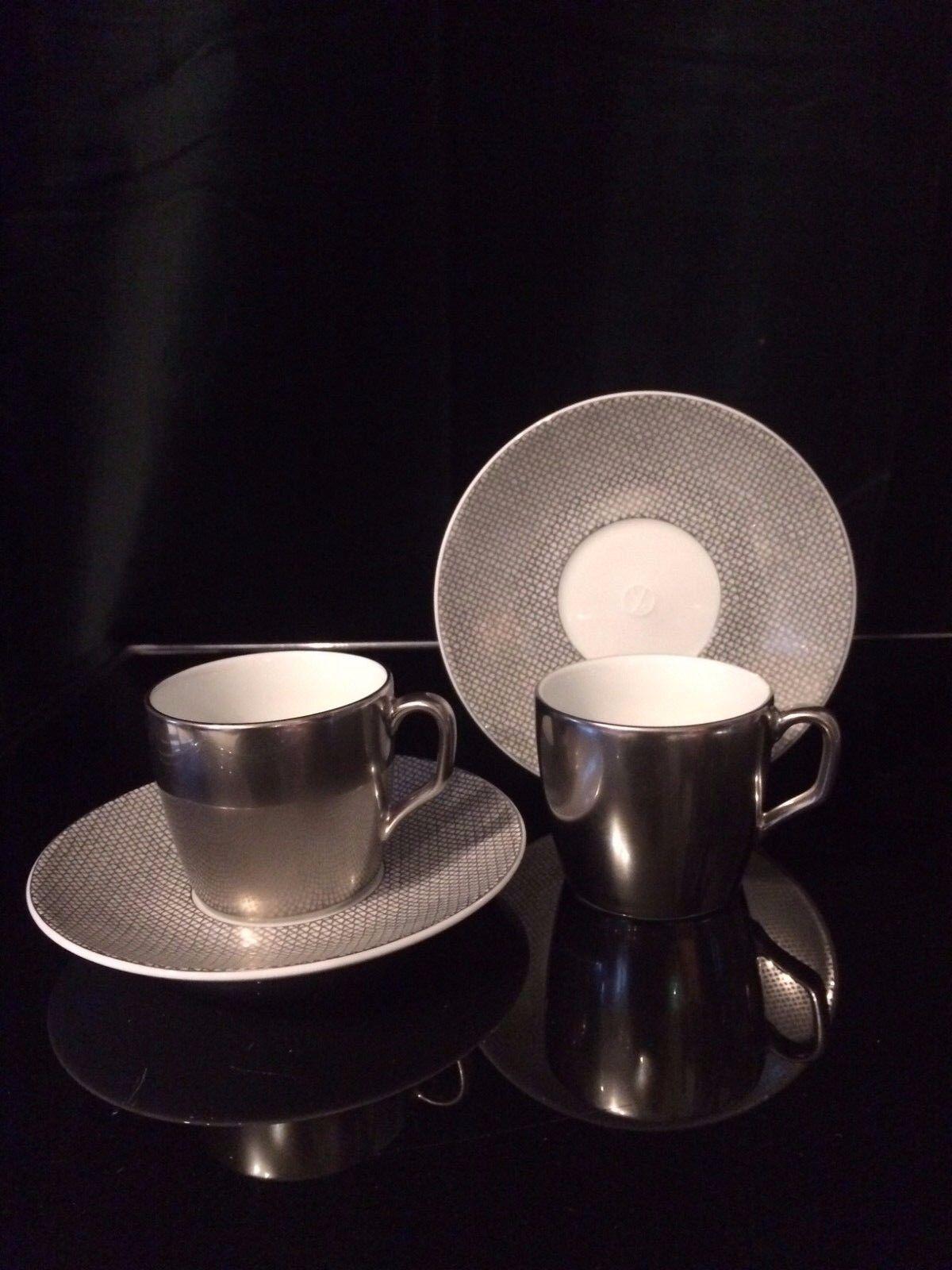Meissen Meissen Meissen Cosmopolitan Espresso-Set Platin 2 Espressotassen inkl. Untertassen 3f7158