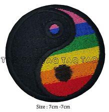 yin yang  rainbow iron sew on patch rainbow colours badge  #120