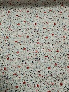 1 Metre Length Blue Flower Floral Print Cotton Poplin 100/% cotton Fabric