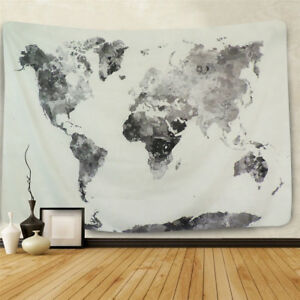 Ink black world map wall tapestry wall hanging bedroom indian wall image is loading ink black world map wall tapestry wall hanging gumiabroncs Images
