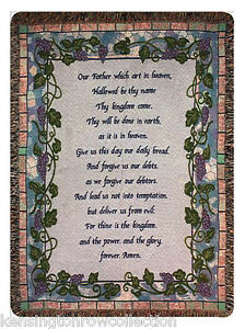 "Grapevine Border Lustrous 50"" X 60"" Throw Objective Throws The Lord's Prayer Tapestry Throw"