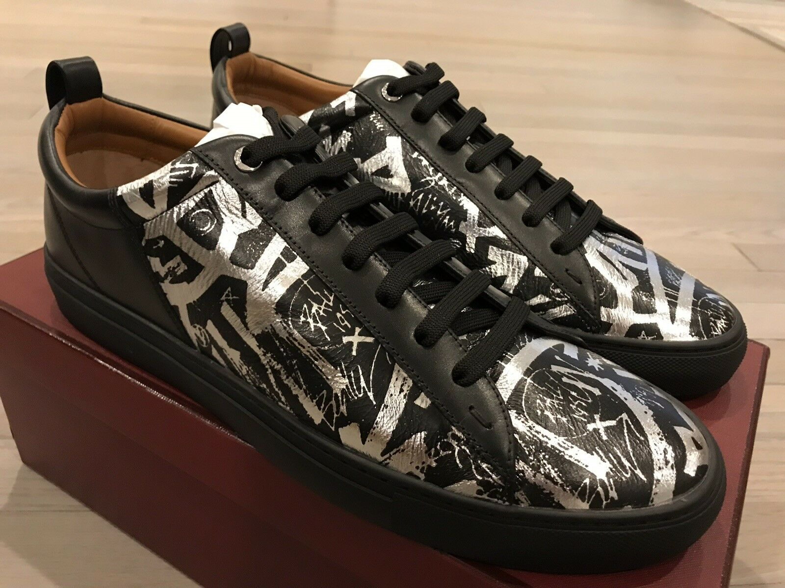 600  Bally Herbi Limited Edition Black With Silver Leather Sneakers size US 12