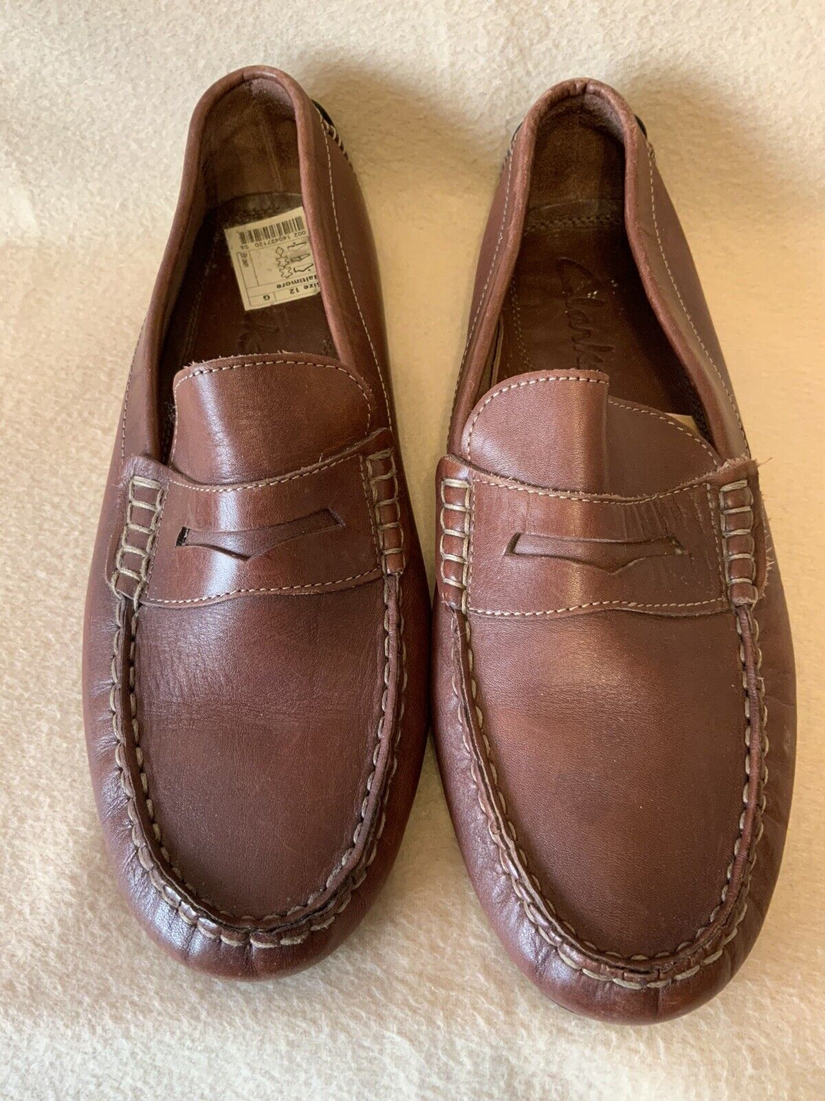 Men's/Gents Clarks Shoes 12 Brown Leather Casual Worn ONCE Excellent Condition