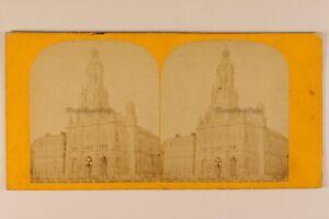 Eglise Da La Sainte Trinità Parigi Francia Foto Stereo c1870 Albumina Vintage