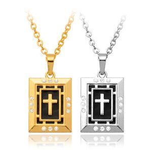 Men-039-s-Religious-Jewelry-18K-Gold-Platinum-Plated-Jesus-Cross-Pendant-Necklace