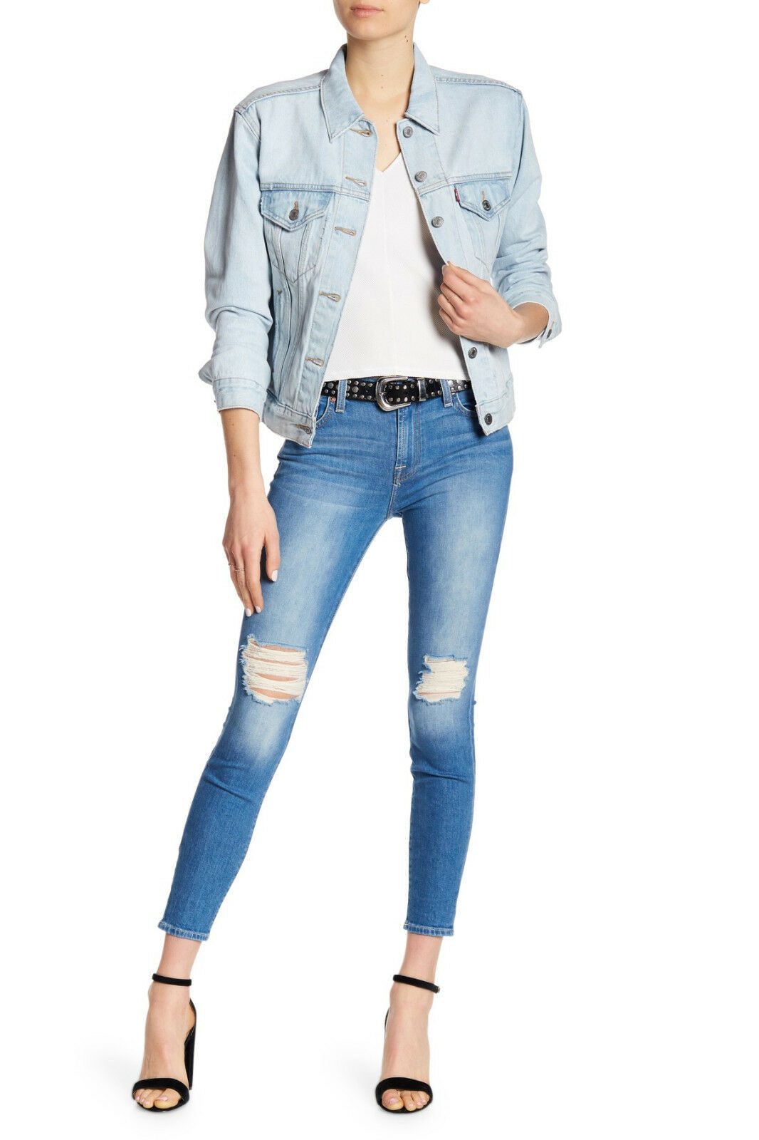 209 NEW 7 For All Mankind Ankle Gwenevere with Destroy in Breezy Visby Size 28