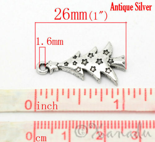 20 Or 50PCs Christmas Tree Wholesale Antiqued Silver Plated Charms C6185-10