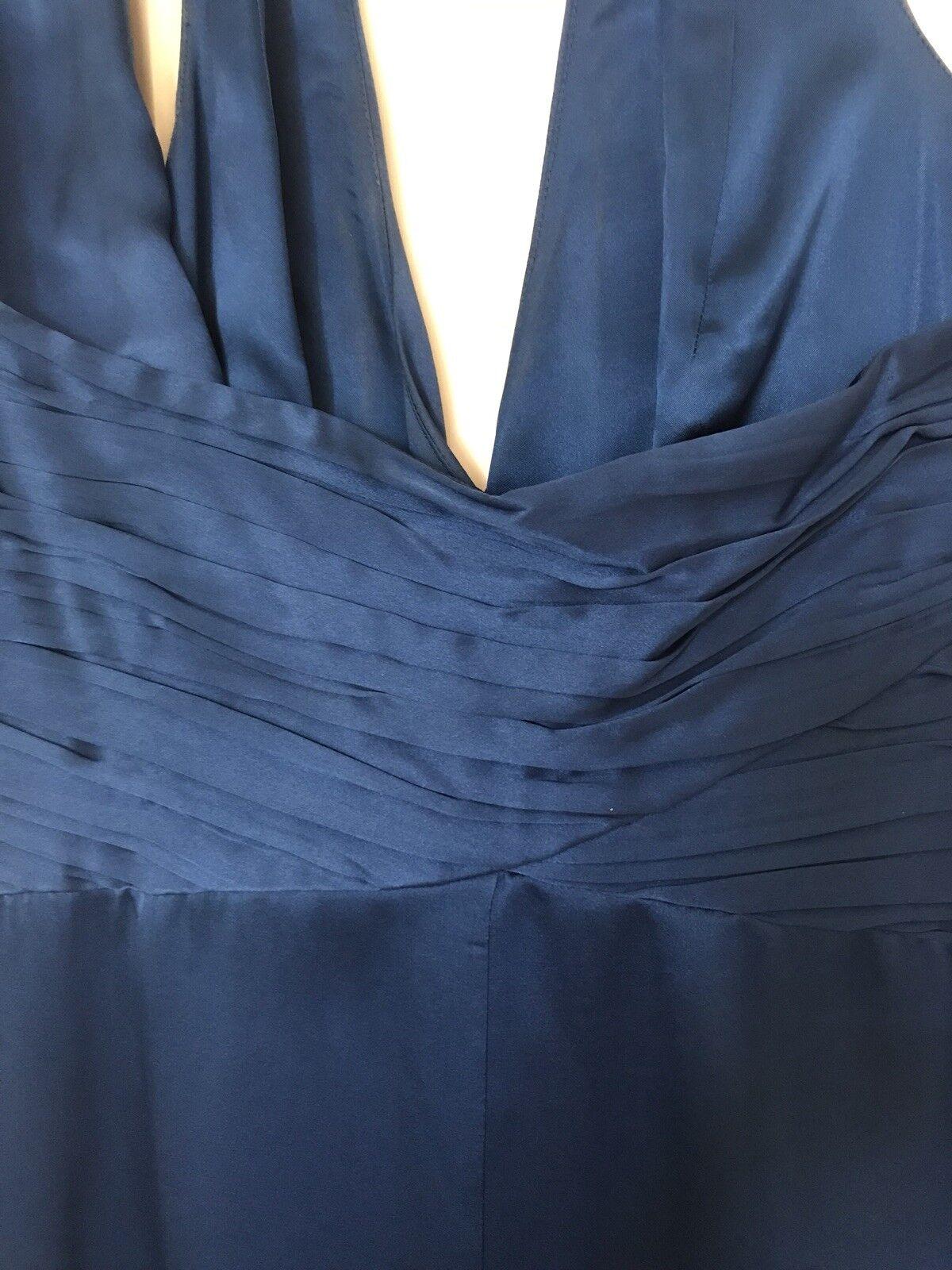 Sorprendente azzurro blu seta COAST dietro il collo Maxi Abito Abito Abito da sera, Taglia 12 318b3b