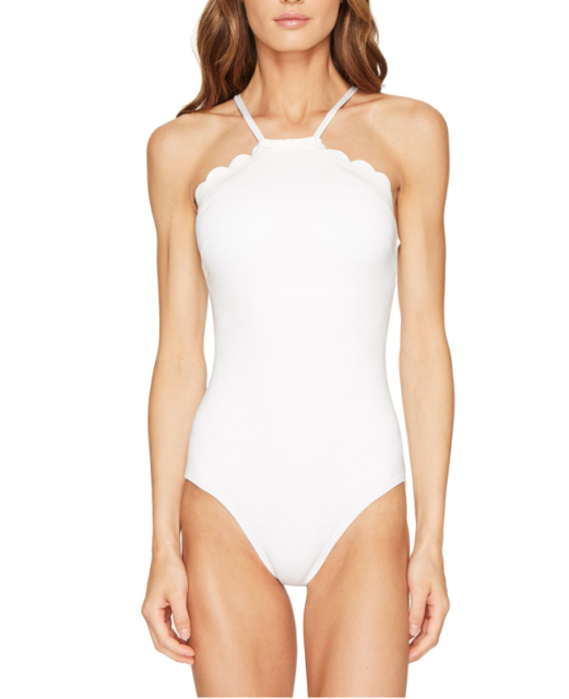 19737ca36bb Kate Spade Womens White Scalloped High Neck One Piece Swimsuit Sz M 6723