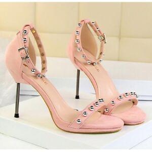 Sandalo donna 8.5 eleganti cm eleganti 8.5 stiletto rosa borchie alti simil pelle   4243f1