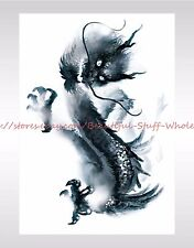 """US SELLER-temporary body watercolor dragon large 8.25"""" temporary arm tattoo"""