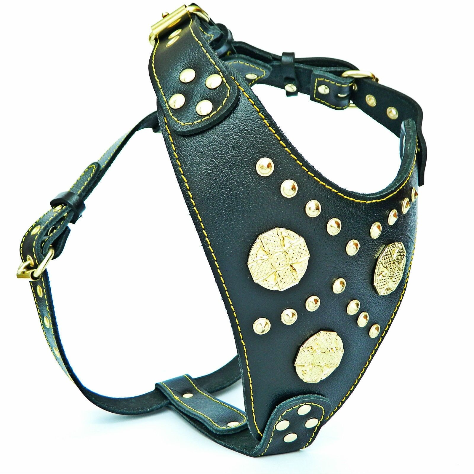 Genuine leather chest plate harness. studded design. padded. large breeds L,XL