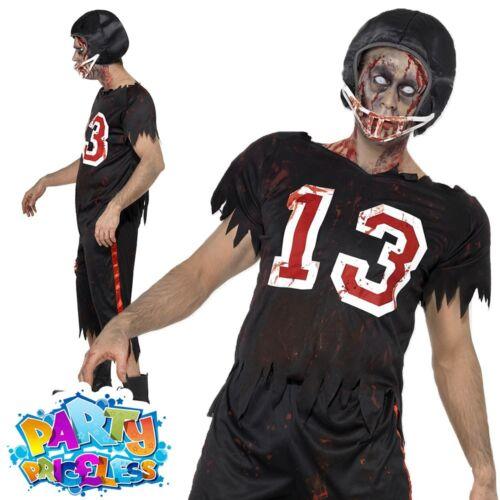 Zombie American Footballer Costume Adult Jock Halloween Sport Fancy Dress Outfit