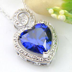 20-Cts-Handmade-Swiss-Blue-Fire-Topaz-Gems-Vintage-Silver-Heart-Necklace-Pendant