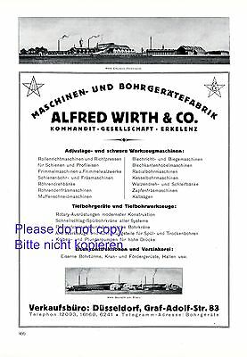 Advertising-print Reliable Engineering Works Wirth Erkelenz Xl 1925 German Ad Drilling Drill Benrath Careful Calculation And Strict Budgeting