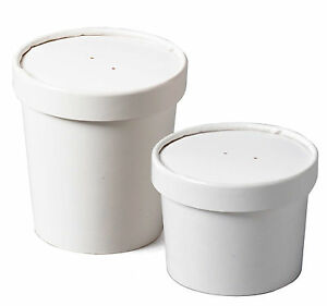 100 x White Paper Soup Containers Heavy Duty / Lids Available in 12oz 16oz 26oz