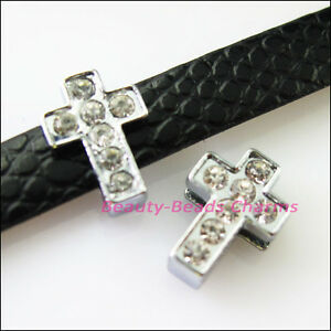 8Pcs-Crystal-Rhinestone-Slide-Cross-Beads-Charms-Wristband-DIY-Bracelets-10x14mm