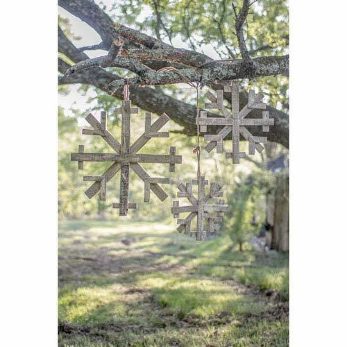 Kalalou Recycled Wooden Snowflakes, Set of Three