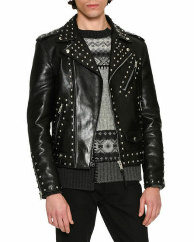 New Silver Brand Black Top Mens Size Jacket All Leather Cowhide Studded xrn4qnYw