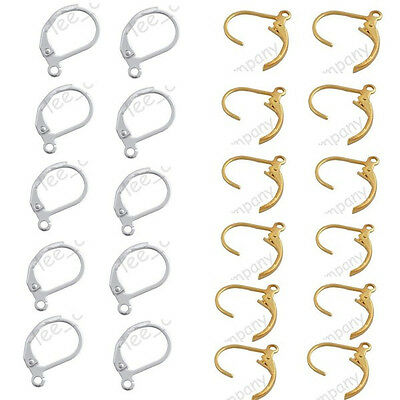 50 Pcs Gold & Silver Plated French Earring Clasps Hooks Charm Findings 11x16 mm