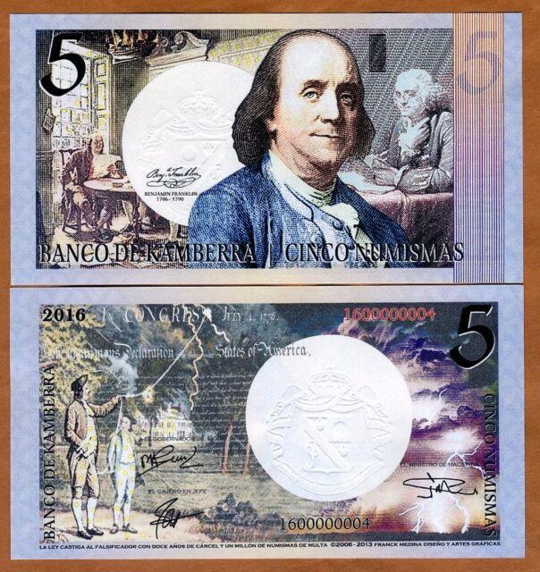 Kamberra, 5 Numismas, 2016, UNC > Benjamin Franklin > New Date