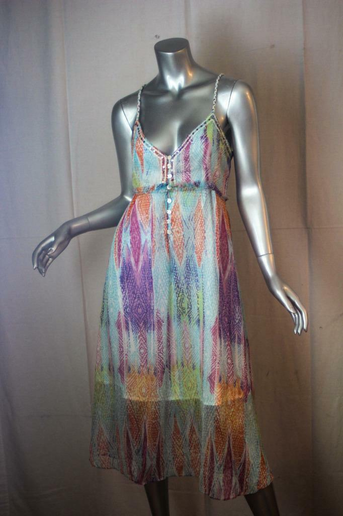 Womans FREE PEOPLE Rainbow colors Sequins Fringe Sleeveless Dress Size S